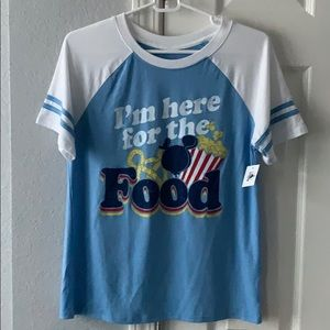 """Disney Parks NWT """"Here for the Food"""" snacks shirt"""